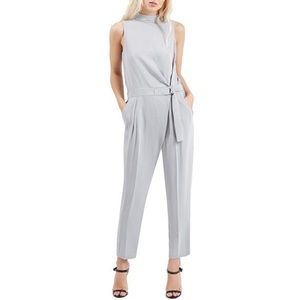 Topshop Gray High Neck Belted Jumpsuit